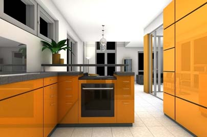 A new Kitchen renovation in Bondi NSW, it has bright orange cupbords and appliances