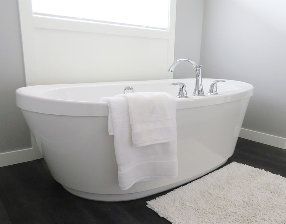 A big bathtub in a freshly renovated bathroom in Kensington