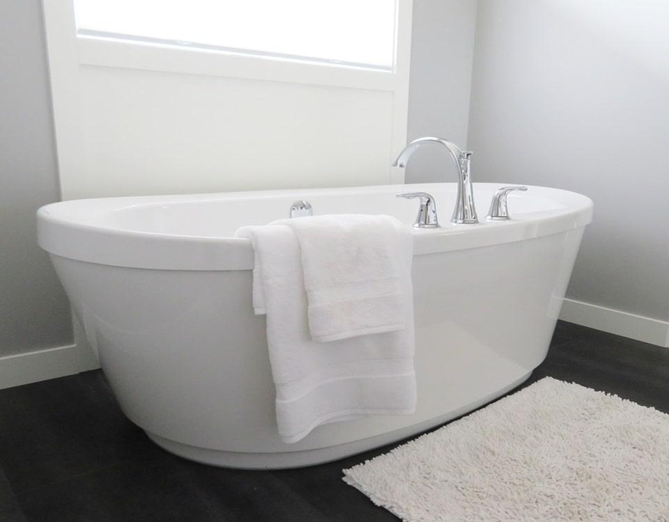 A big bath tub in a freshly renovated bathroom in Point Piper